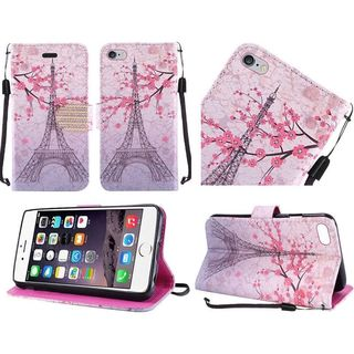 Insten Pink/ White Eiffel Tower Leather Case Cover Lanyard with Stand/ Diamond For Apple iPhone 6 Plus/ 6s Plus
