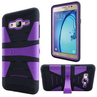 Insten Black/ Purple Hard PC/ Silicone Dual Layer Hybrid Rubberized Matte Case Cover with Stand For Samsung Galaxy On5