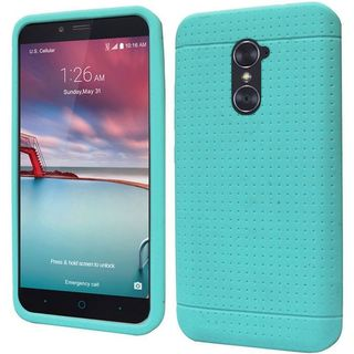 Insten Teal Rugged Silicone Skin Gel Rubber Case Cover For ZTE Zmax Pro