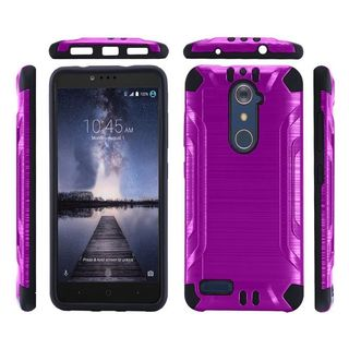 Insten Purple/ Black Hard PC/ Silicone Dual Layer Hybrid Rubberized Matte Case Cover For ZTE Zmax Pro