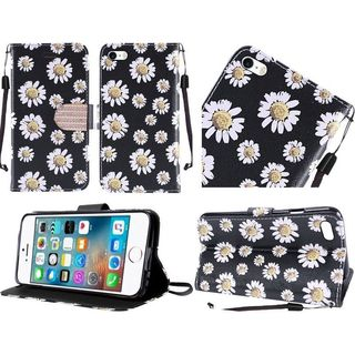 Insten Black/ White Daisy Blossom Leather Case Cover Lanyard with Stand/ Diamond For Apple iPhone 5/ 5S/ SE