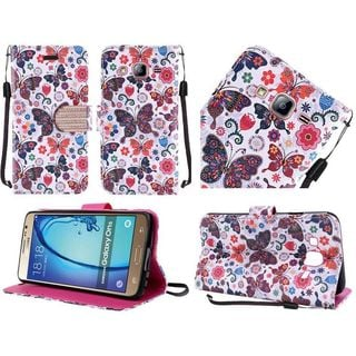 Insten Purple/ White Butterfly Flower Leather Case Cover Lanyard with Stand/ Diamond For Samsung Galaxy On5