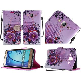 Insten Purple Flowers Leather Case Cover Lanyard with Stand/ Diamond For Samsung Galaxy On5