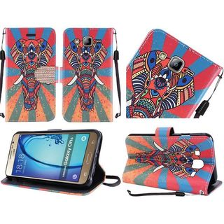 Insten Orange/ Blue Elephant Leather Case Cover Lanyard with Stand/ Diamond For Samsung Galaxy On5
