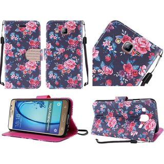 Insten Green/ Pink Daisy Blossom Leather Case Cover Lanyard with Stand/ Diamond For Samsung Galaxy On5