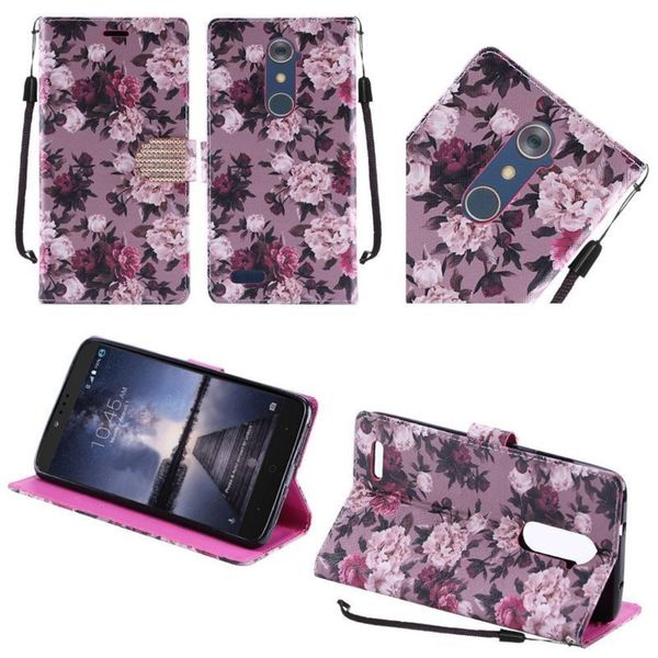 211f1d3a54d26c Insten Purple  White Roses Leather Case Cover Lanyard with Stand  Diamond  For ZTE Zmax