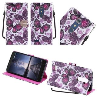 Insten Purple/ White Butterfly Flower Leather Case Cover Lanyard with Stand/ Diamond For ZTE Zmax Pro