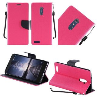 Insten Hot Pink/ Black Leather Case Cover Lanyard with Stand For ZTE Zmax Pro