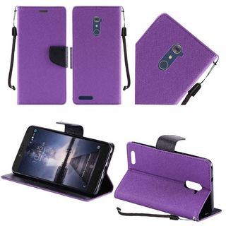 Insten Purple/ Black Leather Case Cover Lanyard with Stand For ZTE Zmax Pro