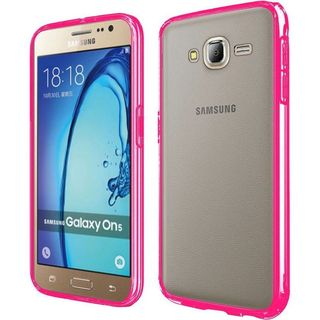 Insten Clear/ Hot Pink Hard Snap-on Crystal Case Cover For Samsung Galaxy On5