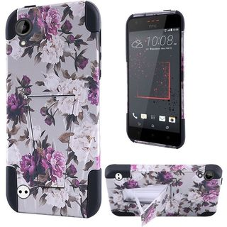 Insten Purple/ White Roses Hard PC/ Silicone Dual Layer Hybrid Case Cover with Stand For HTC Desire 530