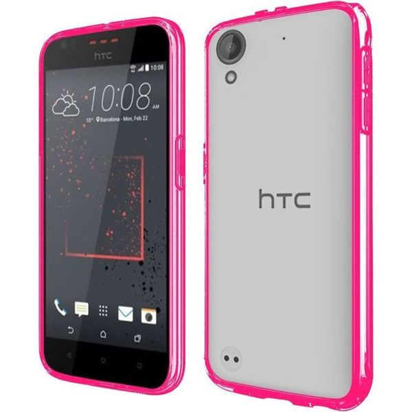 Insten Clear/ Hot Pink Hard Snap-on Crystal Case Cover For HTC Desire 530/ 550/ 555
