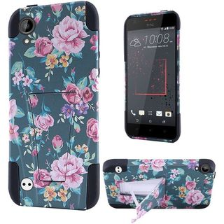 Insten Green/ Pink Roses Hard PC/ Silicone Dual Layer Hybrid Case Cover with Stand For HTC Desire 530