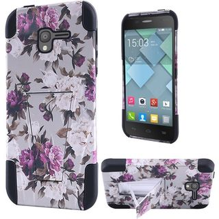 Insten Pink/ White Roses Hard PC/ Silicone Dual Layer Hybrid Case Cover with Stand For Alcatel Stellar