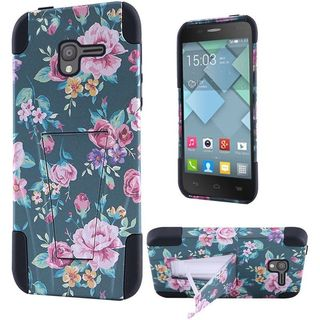 Insten Pink/ Blue Roses Hard PC/ Silicone Dual Layer Hybrid Case Cover with Stand For Alcatel Stellar
