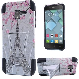 Insten Pink Eiffel Tower Hard PC/ Silicone Dual Layer Hybrid Case Cover with Stand For Alcatel Stellar