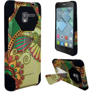 Insten Yellow Antique Flower Hard PC/ Silicone Dual Layer Hybrid Case Cover with Stand For Alcatel Stellar