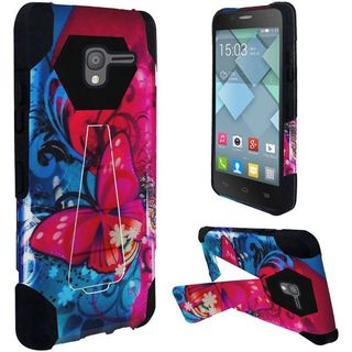 Insten Red/ Blue Butterfly Bliss Hard PC/ Silicone Dual Layer Hybrid Case Cover with Stand For Alcatel Stellar