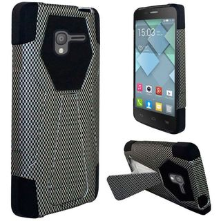 Insten Black Carbon Fiber Hard PC/ Silicone Dual Layer Hybrid Case Cover with Stand For Alcatel Stellar