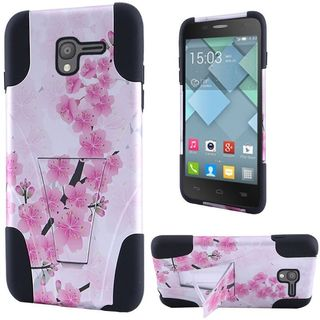 Insten Pink/ White Cherry Blossom Hard PC/ Silicone Dual Layer Hybrid Case Cover with Stand For Alcatel Stellar