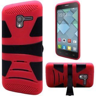 Insten Black/ Red Hard PC/ Silicone Dual Layer Hybrid Rubberized Matte Case Cover with Stand For Alcatel Stellar/ Tru