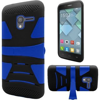 Insten Blue/ Black Hard PC/ Silicone Dual Layer Hybrid Rubberized Matte Case Cover with Stand For Alcatel Stellar/ Tru