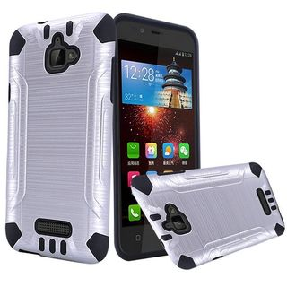Insten Silver/ Black Hard PC/ Silicone Dual Layer Hybrid Rubberized Matte Case Cover For Coolpad Catalyst