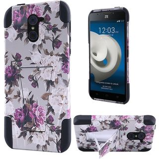 Insten Purple/ White Roses Hard PC/ Silicone Dual Layer Hybrid Case Cover For ZTE Grand X Max 2/ Imperial Max/ Kirk/ Max Duo 4G
