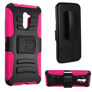 Insten Black/ Hot Pink Hard PC/ Silicone Dual Layer Hybrid Case Cover For ZTE Grand X Max 2/ Imperial Max/ Kirk/ Max Duo 4G