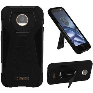 Insten Black Hard PC/ Silicone Dual Layer Hybrid Case Cover with Stand For Motorola Moto Z Droid
