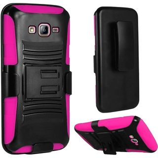 Insten Black/ Hot Pink Hard PC/ Silicone Dual Layer Hybrid Case Cover with Holster For Samsung Galaxy On5