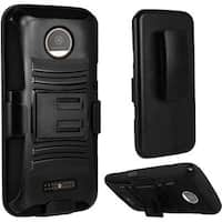 Insten Black Hard PC/ Silicone Dual Layer Hybrid Case Cover with Holster For Motorola Moto Z Droid
