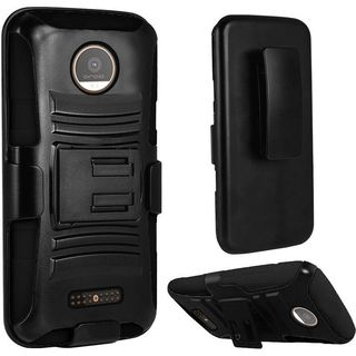 Insten Black Hard PC/ Silicone Dual Layer Hybrid Case Cover with Holster For Motorola Moto Z Force Droid Edition