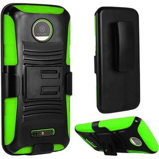 Insten Black/ Green Hard PC/ Silicone Dual Layer Hybrid Case Cover with Holster For Motorola Moto Z Force Droid Edition