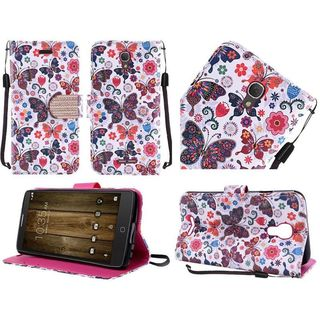 Insten Purple/ White Butterfly Flower Leather Case Cover Lanyard with Stand/ Diamond For Alcatel One Touch Fierce 4/ Pop 4