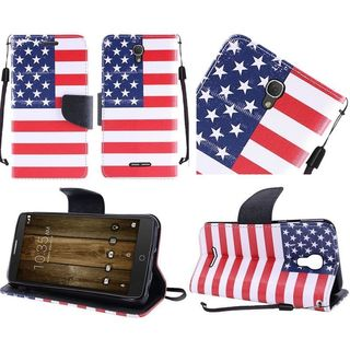Insten Red/ Blue US National Flag Leather Case Cover Lanyard with Stand For Alcatel One Touch Fierce 4/ Pop 4