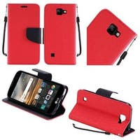 Insten Red/ Black Leather Case Cover Lanyard with Stand For LG K3