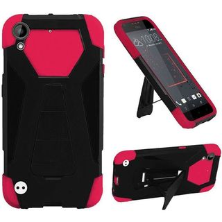 Insten Hot Pink/ Black Hard PC/ Silicone Dual Layer Hybrid Case Cover with Stand For HTC Desire 530