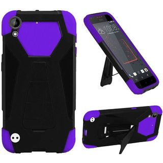 Insten Purple/ Black Hard PC/ Silicone Dual Layer Hybrid Case Cover with Stand For HTC Desire 530