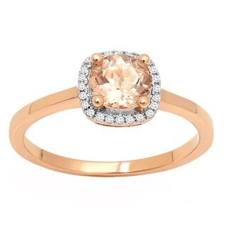 10k Rose Gold Round-cut Morganite and White Diamond Accent Halo Bridal Ring (I-J, I2-I3)