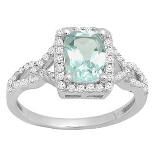10k Gold 1 5/8ct TGW Cushion Aquamarine and White Diamond Accent Halo Bridal Ring (I-J, I2-I3)