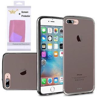 Insten Black Frosted TPU Rubber Candy Skin Case Cover with Screen Protector For Apple iPhone 7
