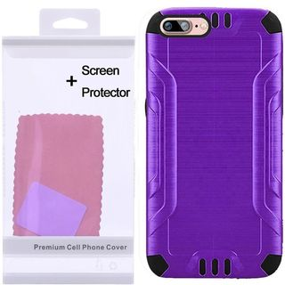 Insten Purple/ Black Hard PC/ Silicone Dual Layer Hybrid Rubberized Matte Case Cover with Screen Protector For Apple iPhone 7