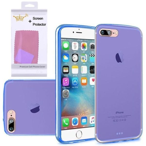 Insten Blue Frosted TPU Rubber Candy Skin Case Cover with Screen Protector For Apple iPhone 7 Plus