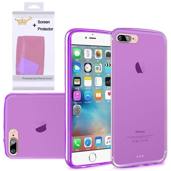 Insten Purple Frosted TPU Rubber Candy Skin Case Cover with Screen Protector For Apple iPhone 7 Plus