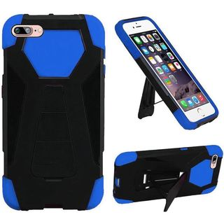 Insten Black/ Blue Hard PC/ Silicone Dual Layer Hybrid Case Cover with Stand For Apple iPhone 7