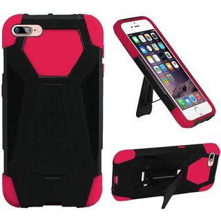 Insten Black/ Hot Pink Hard PC/ Silicone Dual Layer Hybrid Case Cover with Stand For Apple iPhone 7