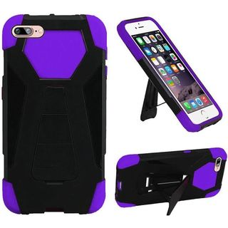 Insten Black/ Purple Hard PC/ Silicone Dual Layer Hybrid Case Cover with Stand For Apple iPhone 7