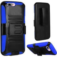 Insten Black/ Blue Hard PC/ Silicone Dual Layer Hybrid Case Cover with Holster For Apple iPhone 7