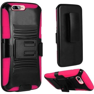 Insten Black/ Hot Pink Hard PC/ Silicone Dual Layer Hybrid Case Cover with Holster For Apple iPhone 7